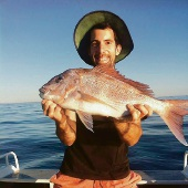 Michael Tropiano with a pink snapper caught in Cockburn Sound.