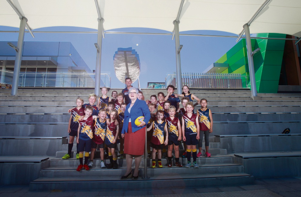 City of South Perth Mayor Sue Doherty with players from Manning Rippers FC who will call the new Manning Community Centre their home ground Picture: Marie Nirme www.communitypix.com.au   d464476