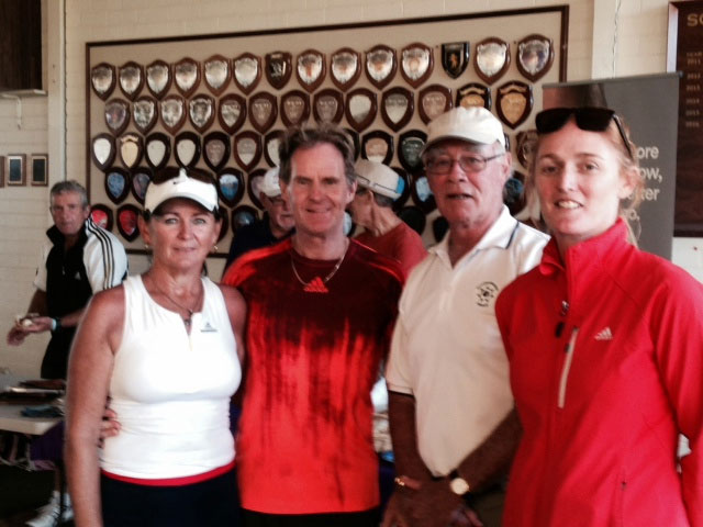 Gary Munns and Kymm Sweeting with club president Hugh Morison and senior coach Andrea Cooper