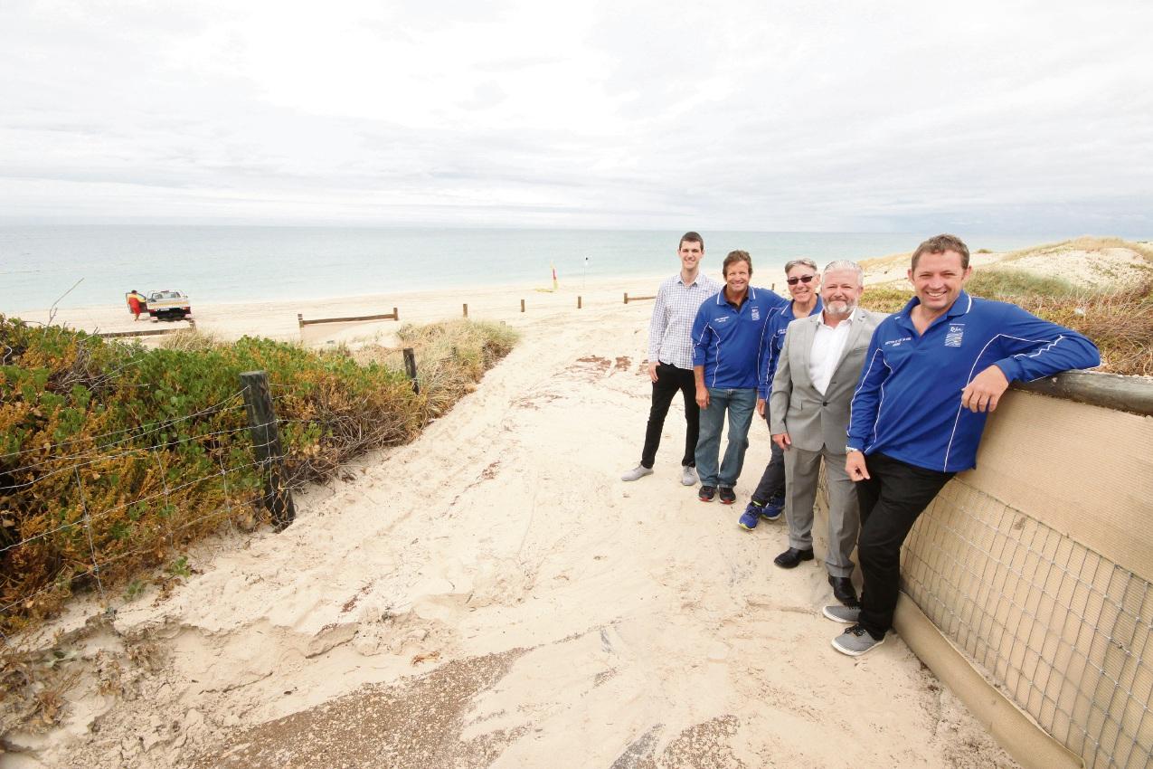 Quinns Mindarie Surf Life Saving Club's Adrian Krop, Neville Hogan, Saxon France, Neil Rigby and Andrew Morgan.