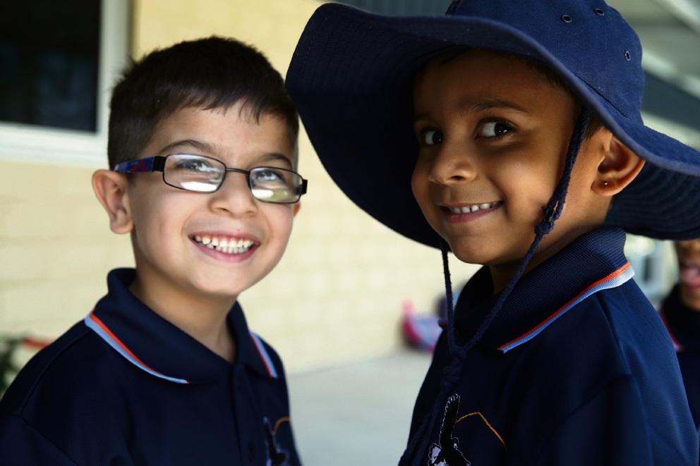 Jamil Aziz and Yogi Patel (Pre-primary).  Photo: Martin Kennealey
