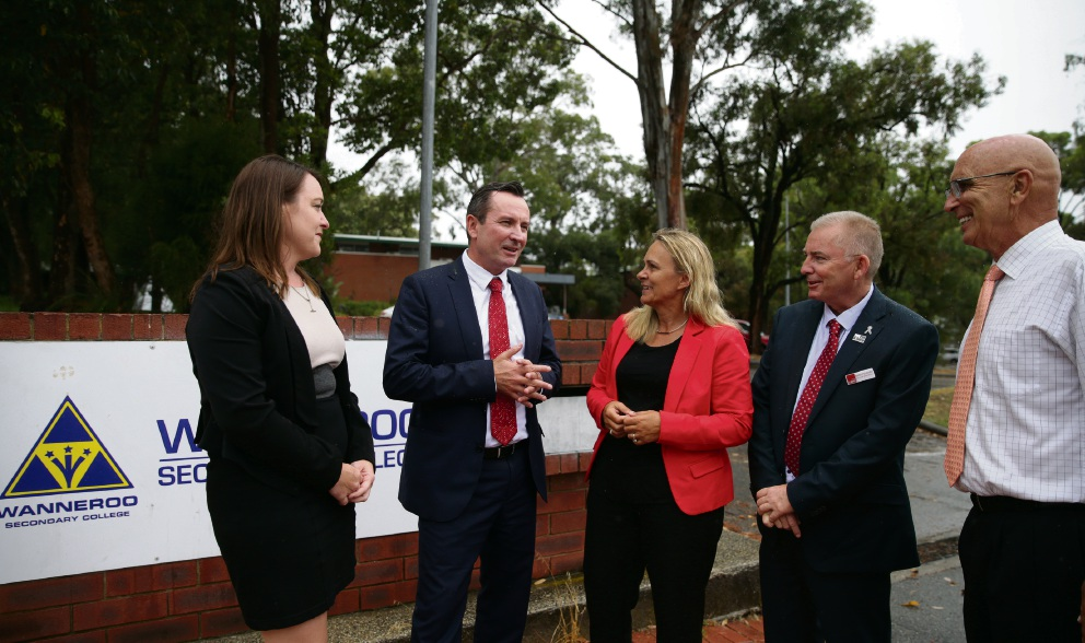 Labor candidates Emily Hamilton, Sabine Winton and Mark Folkard with Mark McGowan and Butler MLA John Quigley.