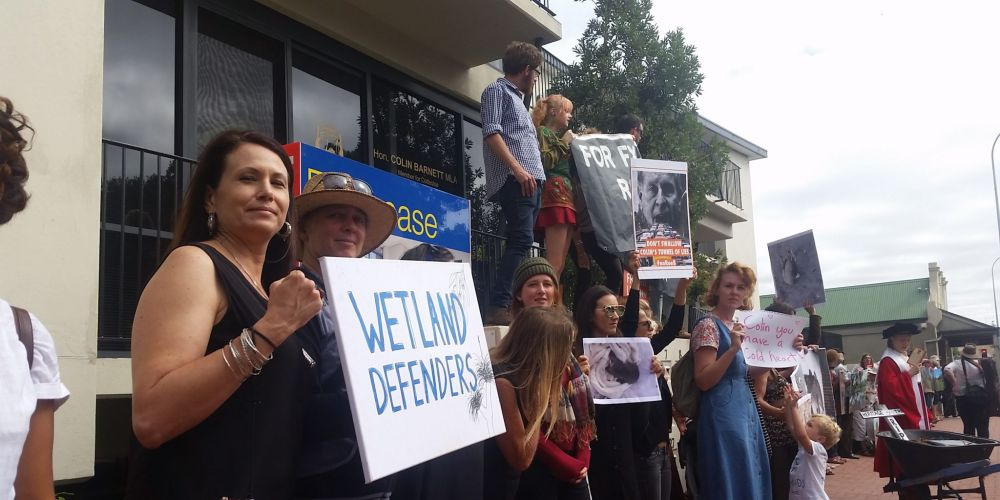 Protesters outside Colin Barnett's office on Thursday morning. Photo: Jon Bassett