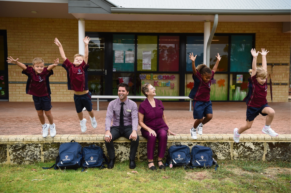 L-R: Year 1 students Hunter Field, Jai Eriksen, Ross Griffin (Director of Early Learning), Maggie Dunnill (Head of Junior Staff), Laura-Lynn Maplanka and Amelia Roberts Picture: Jon Hewson www.communitypix.com.au   d464814
