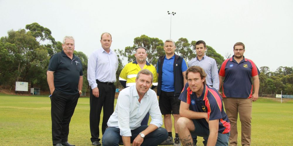 BACK L-R: Brumbies Brian Emery, City of Rockingham Parks Manager Adam Johnston Brumbies President Mick Bradley, Jamie McGillivray, City Acting Director of Engineering and Parks Kelton Hincks and Craig Hamersley