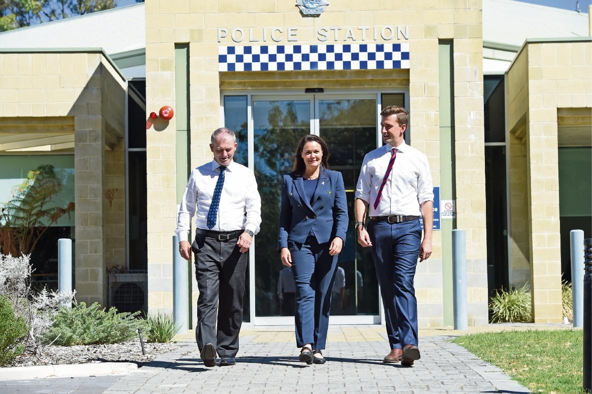 Dawesville MLA Kim Hames, Police Minister Liza Harvey and Liberal candidate for Dawesville Zak Kirkup.