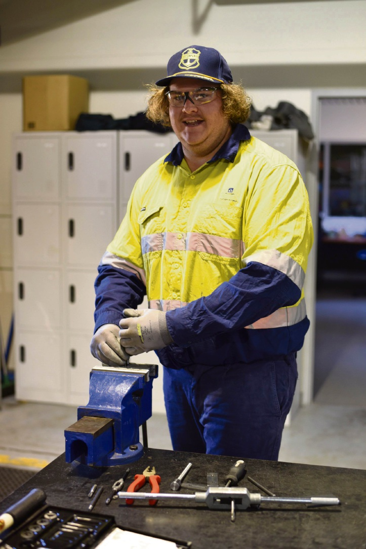 Mandurah resident Tyler Archibald at Pinjarra Senior High School as part of Alcoa's apprenticeship induction.