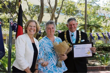 Jacqui Liddiard receives her award from Town of Victoria Park's Australia Day Ambassador Professor Lyn Beazley and Town of Victoria Park Mayor Trevor Vaughan.