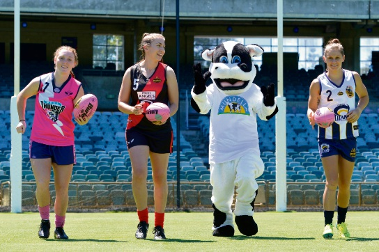 2016 Girls Fairest and Best Sabreena Duffy, Reserves Fairest and Best Jen Homes and League Fairest and Best Kiara Bowers with the Mundella mascot. Picture: Michael Bain