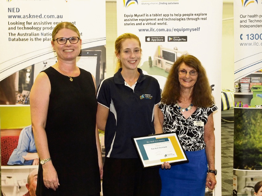 Scholarship winner Rachel Everison, centre, with Independent Living Centre board chairwoman Melissa Bramley and board member Kay Cox.