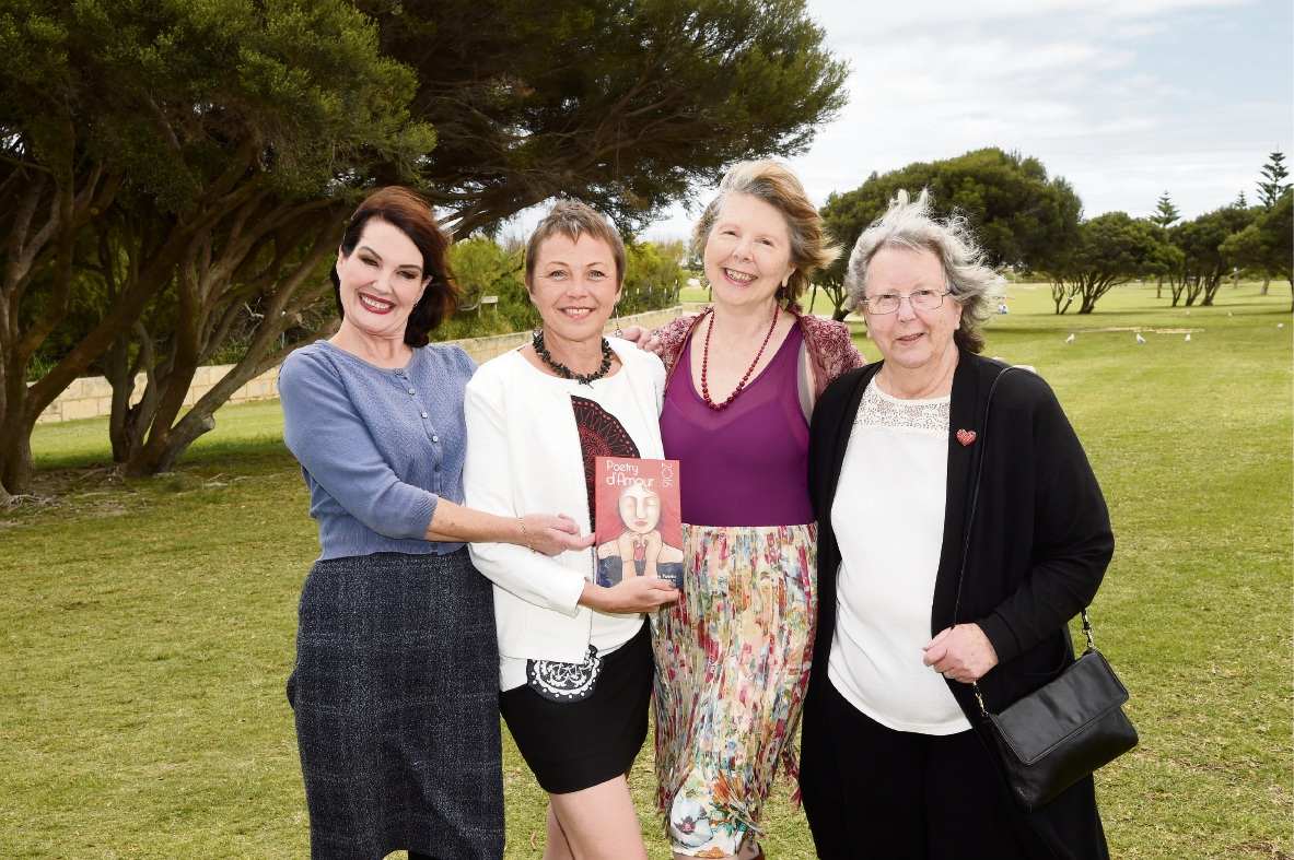 Kate Hall, Tineke Van der Eecken, Liana Joy Christensen and Janet Woods with Poetry d'Amour. Picture: Jon Hewson        www.communitypix.com.au   d461003