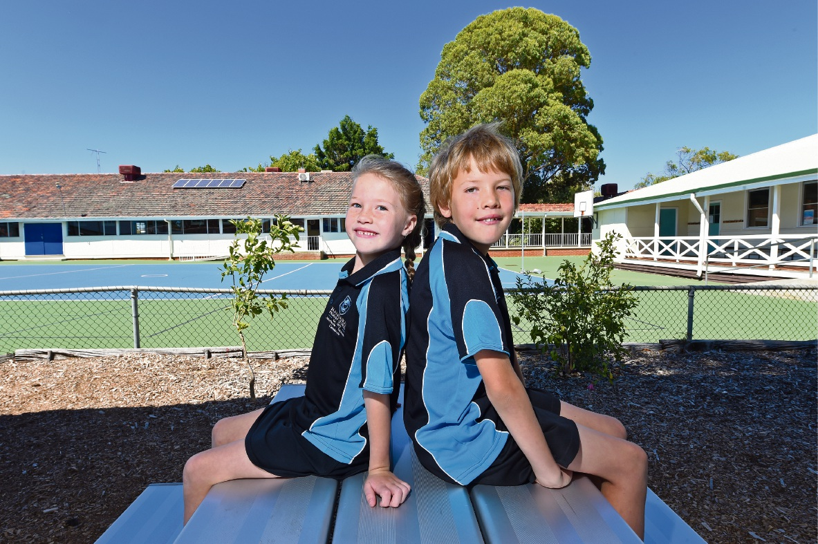 Lillyanne (Year 1) and Oscar Banyard (Year 4) are carrying on a big family tradition. Picture: Jon Hewson        www.communitypix.com.au   d464927
