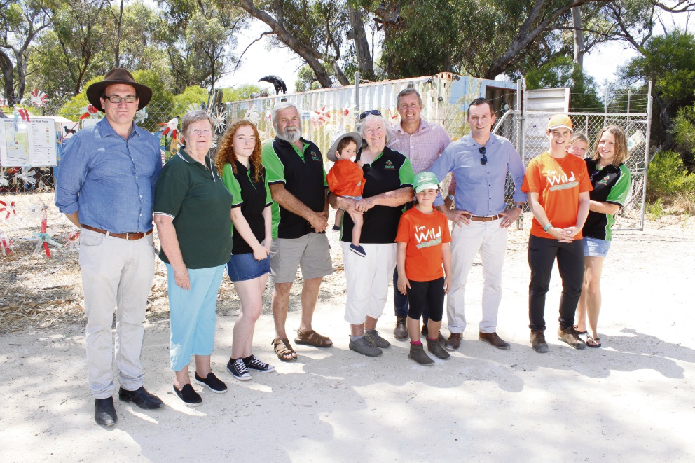 Baldivis Children's Forest chairman Tim Hill with volunteers and Mark McGowan and Reece Whitby at the centre last week.