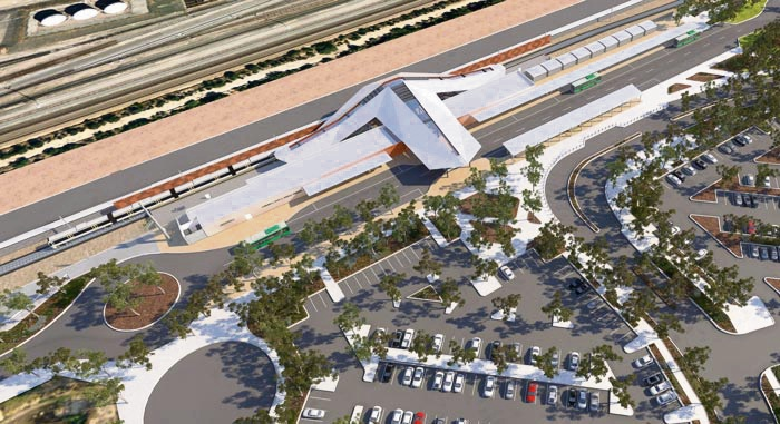 How the Forrestfield train station will look from above.