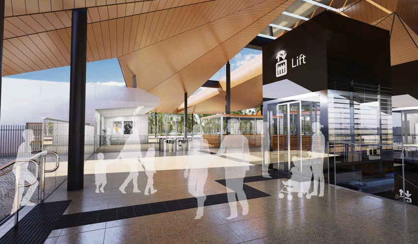 Artistis impression of the Forrestfield train station concourse.