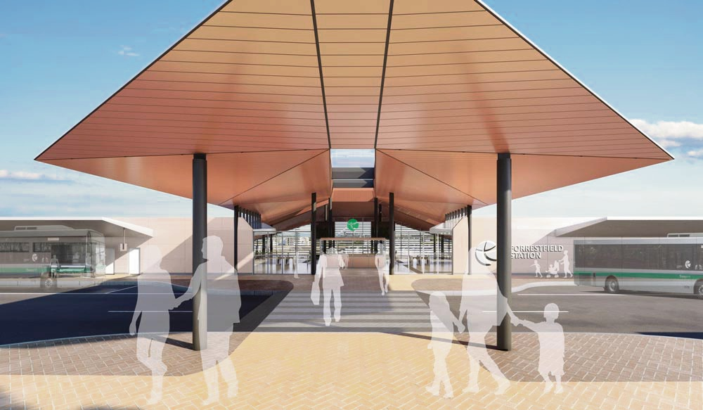 An artist's impression of the entrance to the Forrestfield train station.