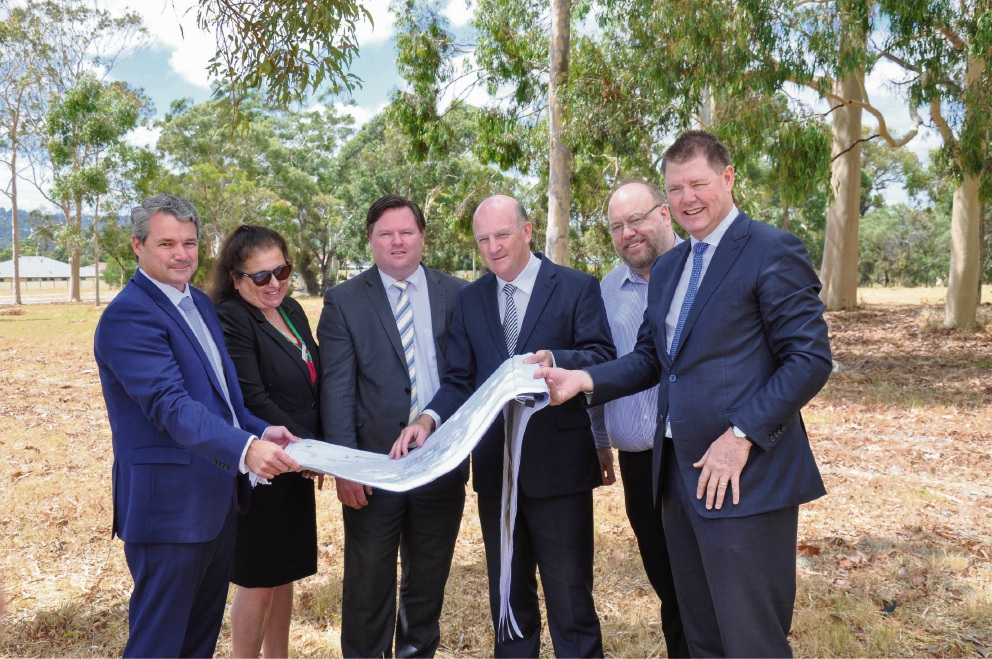 Left to right: Stephen Price, Labor candidate for Forrestfield; Rhonda Harvey, CEO of Shire of Kalamunda; Nathan Morton, Member for Forrestfield; John Day, Health Minister and Member for Kalamunda; Andrew Waddell, President of Shire of Kalamunda; Graeme Prior, Chief Executive of Hall & Prior.