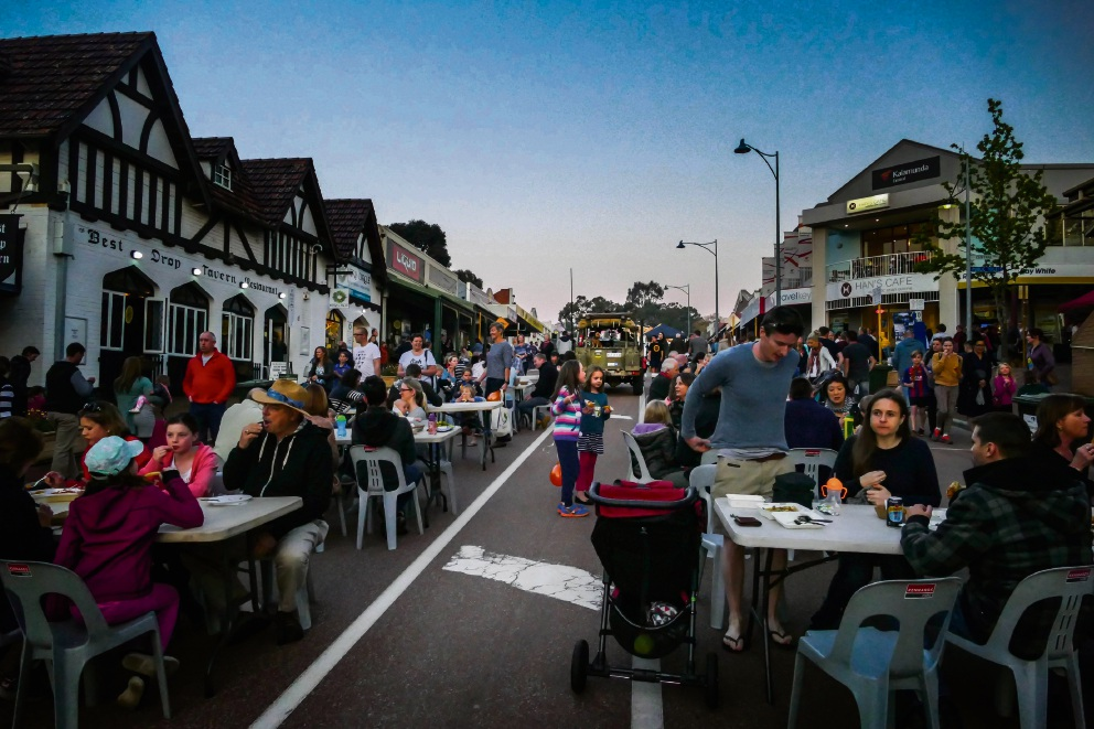 Haynes Street fills up at night with people eating out.