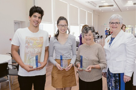 City of South Perth Thank a Volunteer Day winners Troy Malatesta, Lee Bing Tan and Fay Collins celebrate their awards with Mayor Sue Doherty.