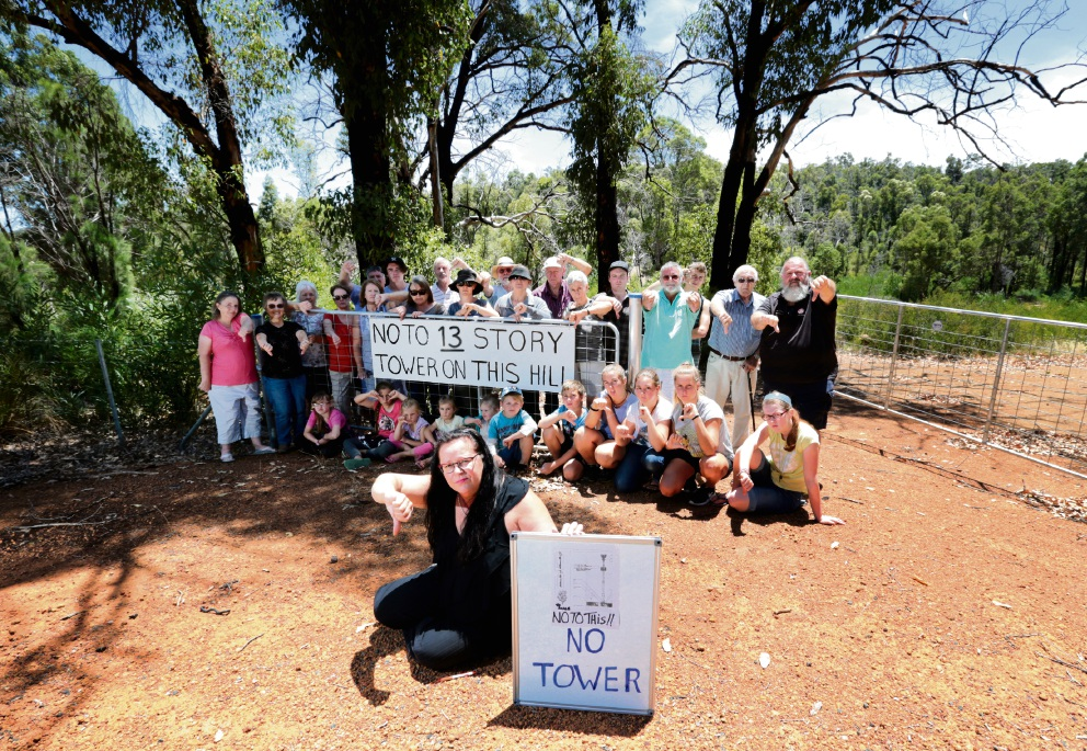Rosie Zilioli and other concerned residents near the location of the proposed NBN tower in Stoneville. Picture: David Baylis        www.communitypix.com.au   d465124