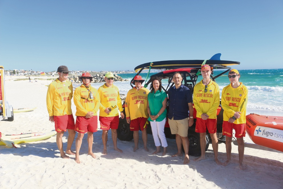 Deputy Premier Liza Harvey and North Metropolitan MLC Peter Katsambanis with Sorrento Surf Life Saving Club members.