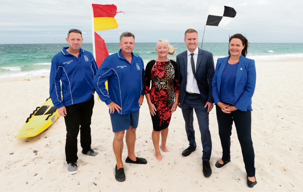 Quinns Mindarie Surf Life Saving Club's Andrew Morgan and Bruce Westerman, Wanneroo Mayor Tracey Roberts, Ocean Reef MLA Albert Jacob and Deputy Premier Liza Harvey. Picture: Martin Kennealey d465103
