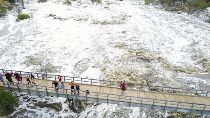 Recent heavy rain boosts Bells Rapids in the Swan River