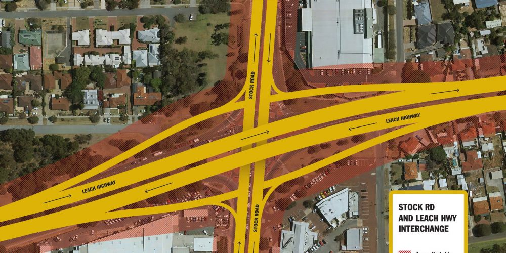 Leach Hwy and Stock Rd intersection.