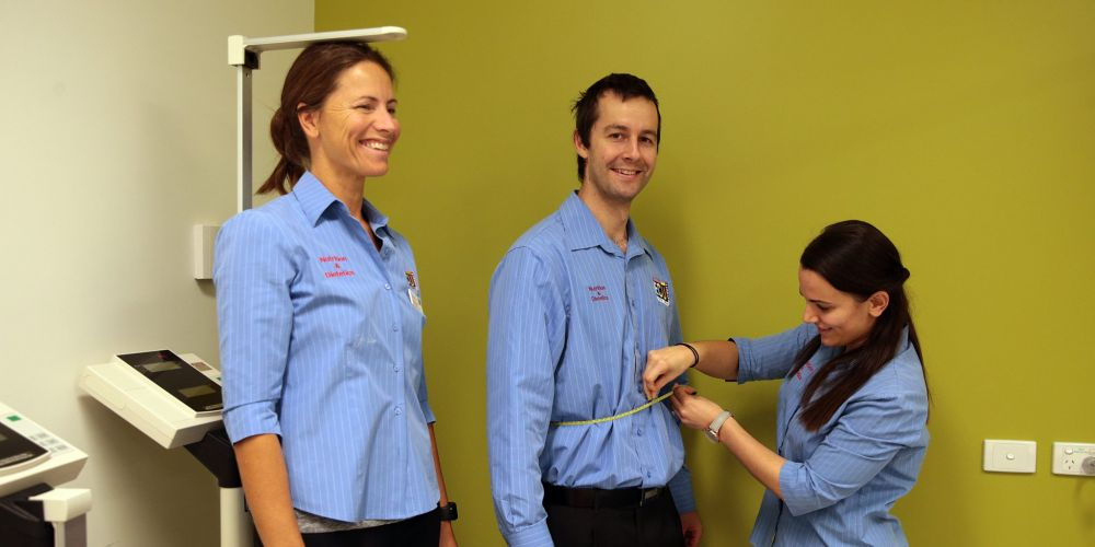 Dietician students Kate Evelegh,Tristan Schwartzkopff and Amber Harland. Picture: Martin Kennealey d465291