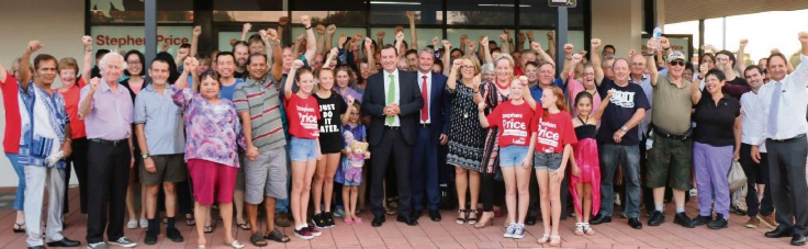 Mark McGowan with candidate Stephen Price and ALP supporters.