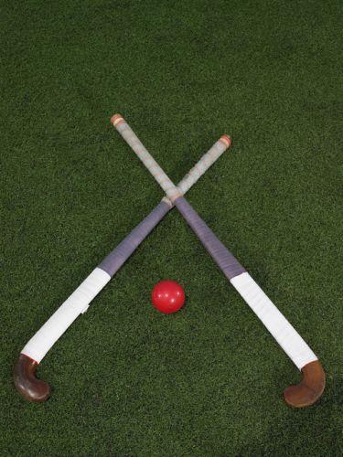 Hockey sticks and a ball
