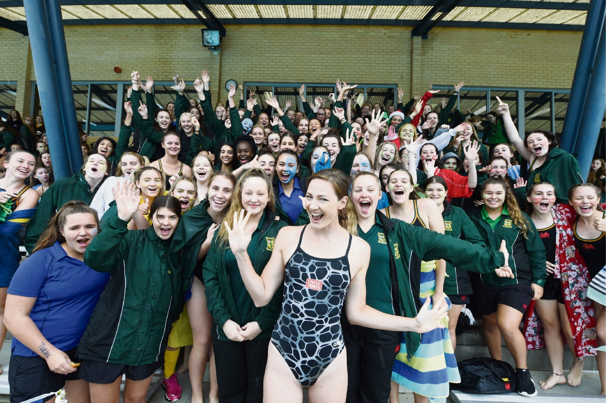 Olympic gold medallist Cate Campbell with the Penrhos College students. Picture: Jon Hewson