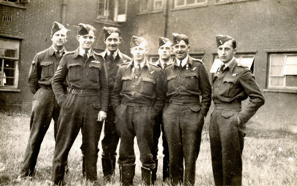 Lancaster pilot Richard Godfrey, second from left, with his crew.