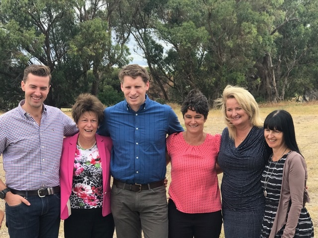 Dawesville Liberal candidate Zak Kirkup, Mental Health Minister Andrea Mitchell, Canning MHR Andrew Hastie, GP Down South business development manager Eleanor Britton, Mandurah Mayor Marina Vergone and GP Down South chief executive Amanda Poller.