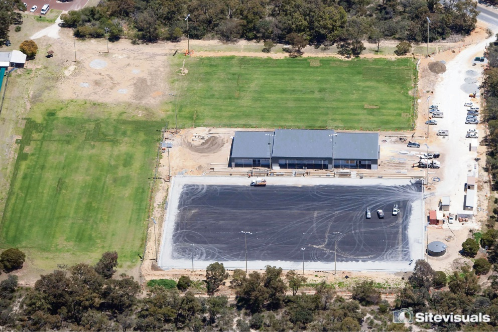 Aerial photo of the hockey centre at Warwick Open Space.
