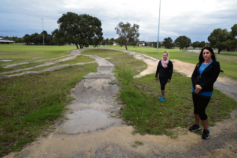 Natalie Jennings and Deanna Fogliani at Warrandale Park in Landsdale. Picture: Martin Kennealey