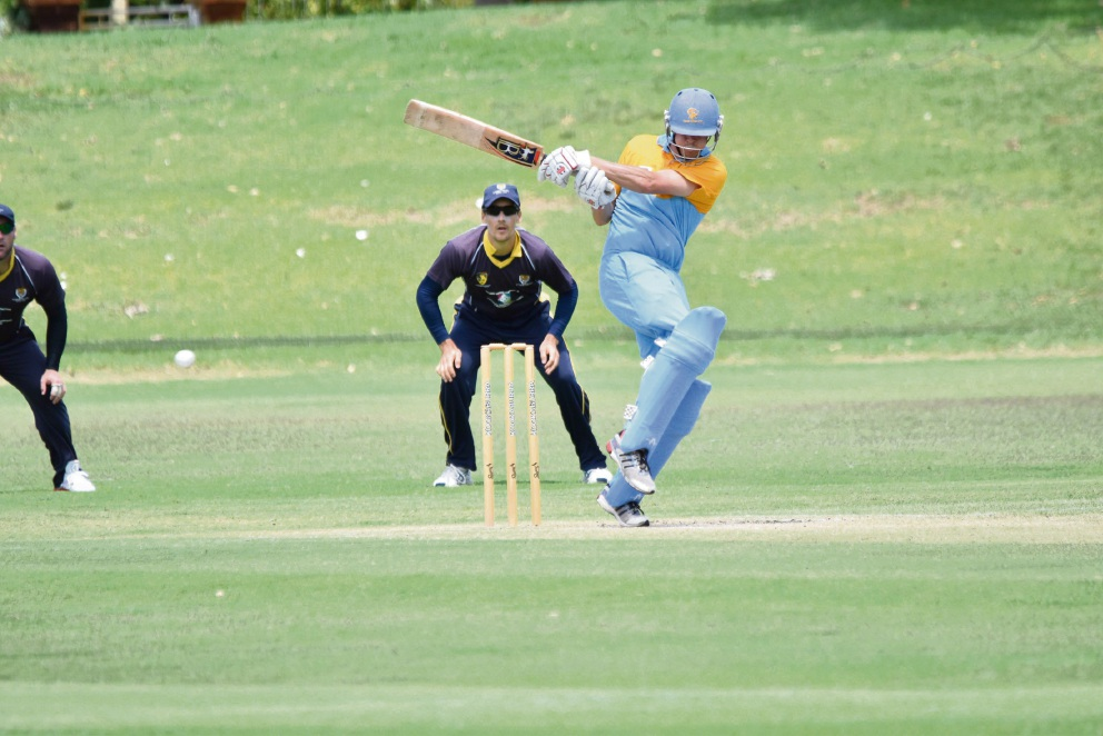 South Perth batsman Nick Mitchell connects with a delivery in the One Day semi-final.