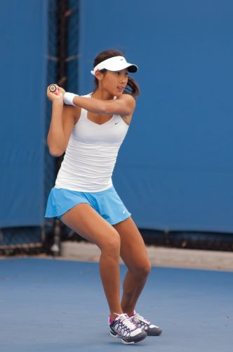 Priscilla Hon from Brisbane recovered from a slow start to beat Naiktha Bains.