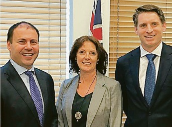 Minister for Environment and Energy Josh Frydenberg, Peel Harvey Catchment Council chief executive Jane O'Malley and Canning MHR Andrew Hastie at Parliament House.