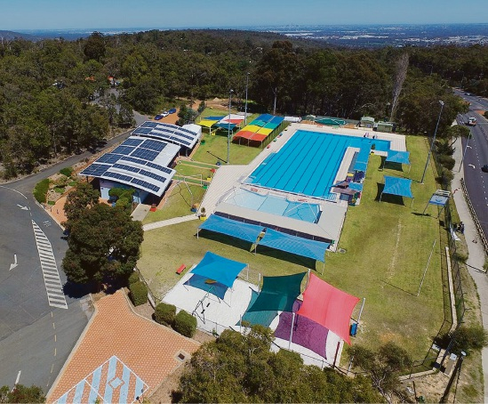Photographer Rhys Williams took this picture of Bilgoman Aquatic Centre with a drone.