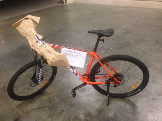 The damaged bike after it was stolen.