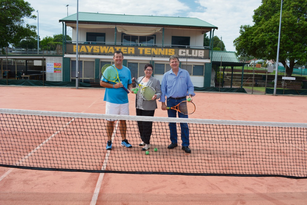 Bayswater Tennis Club coach Anthony Harbrow, Maylands MLA Lisa Baker and president Dan Kerrigan.