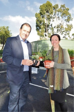 Mundaring Shire President David Lavell and environmental officer Jolene Wallington with some of the seedlings.