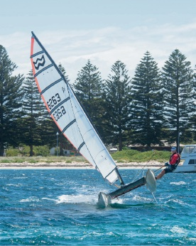 Dion Alston sailing his catamaran  at Safety Bay last weekend. Picture: Craig Hyde