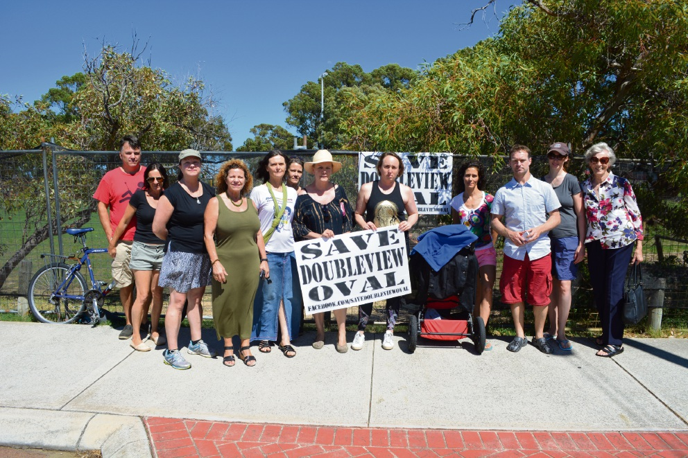 Save Doubleview Oval members and residents gathered at John K Lyons Oval recently.