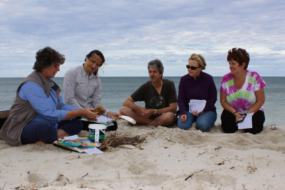 Angela Rossen, pictured with Renata Zelinova, Martin Dickie, Lee-Anne Groenewegen and Mel Cook, will speak at the QREG beach activity on Sunday.
