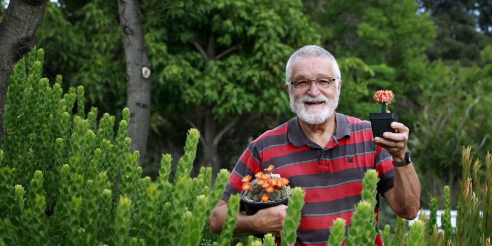 Bob Hunter, president Cactus and Succulent Society of Western Australia, in the gardens at South Perth Community Centre. Picture: Marie Nirme