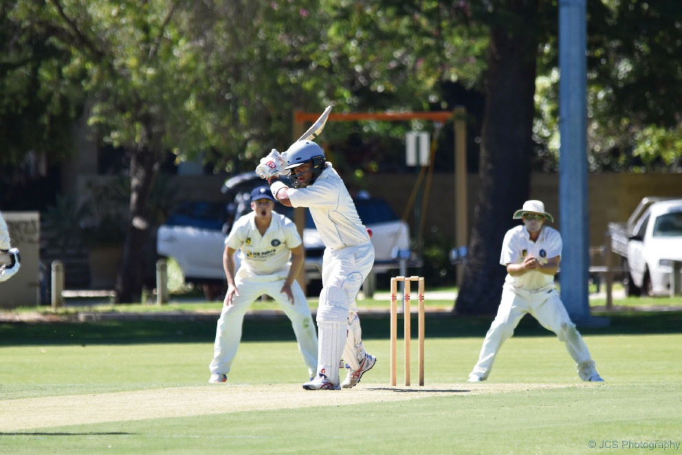 South Perth batsman Darius D'Silva lets a ball go through to the wicketkeeper. Photo: John Sherry