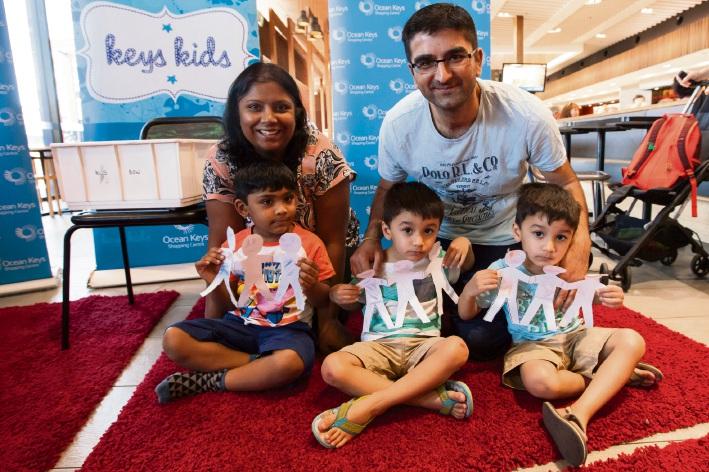 Preeti and Maanav Kothari (3) of Darch with Ajay, Jai and Krishan Karia (3) of Burns Beach.