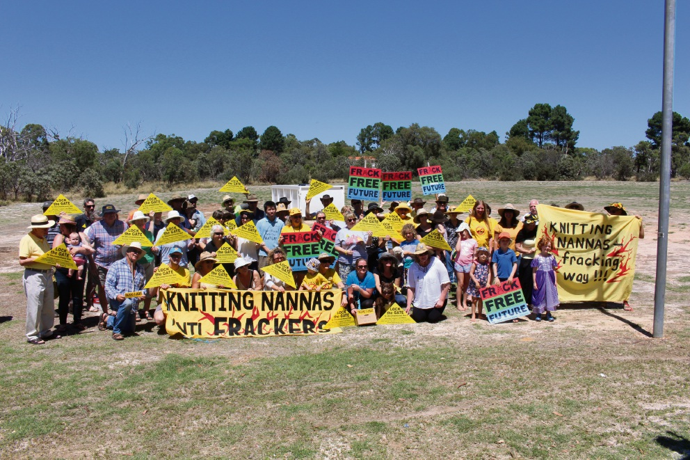 Top: Swan Valley residents Natalie and Micheal Innes and Anne Gething at the Bullsbrook Stop anti-fracking ute muster. Above: Farmers from across the Swan Valley and Bullsbrook at the muster. Pictures: Lisa Thomas